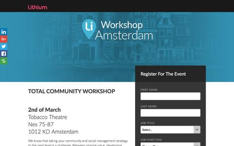 Screenshot of Landing Page lithium.com - Total Community Workshop - Amsterdam - captured Feb. 3, 2017