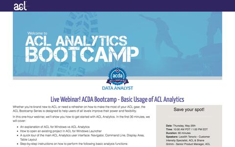 Screenshot of Landing Page acl.com - ACDA Bootcamp - Basic Usage of ACL Analytics - captured April 20, 2018