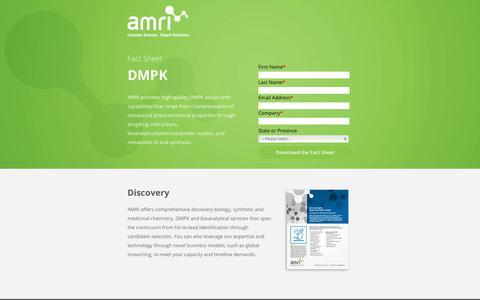 Screenshot of Landing Page amriglobal.com - Fact Sheet: DMPK | AMRI Global - captured March 31, 2018