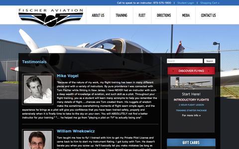 Screenshot of Testimonials Page fischeraviation.com - Testimonials from Student Pilots, Private & Instrument Pilots | NY / NJ Flight School - captured Sept. 30, 2014