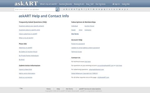 Screenshot of Contact Page Site Map Page askart.com - askART - Help and Contact Info - captured Feb. 29, 2016