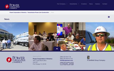 Screenshot of Press Page pcapower.com - Power Corporation of America  | News | Power Corporation of America - Transmission Power Line Construction - captured Oct. 1, 2014