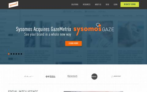 Screenshot of Home Page sysomos.com - Sysomos: Social Media Monitoring Tools - captured Oct. 7, 2015