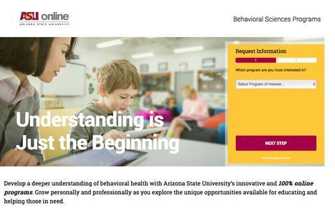 Screenshot of Landing Page asu.edu - Online Behavioral Sciences Degree Programs | ASU Online - captured May 11, 2016