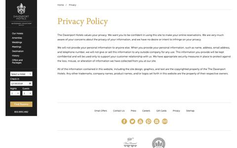 Screenshot of Privacy Page davenporthotelcollection.com - Privacy - Davenport Hotel Collection - Spokane Washington Hotels - captured Dec. 16, 2018