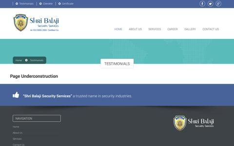 Screenshot of Testimonials Page sbsecurity.in - Shri Balaji Security Services - captured Nov. 2, 2014