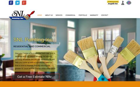 Screenshot of Home Page snlpainting.com - St. Louis Painting Company | SNL Painting - captured Sept. 12, 2015
