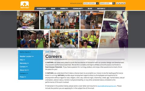 Screenshot of Jobs Page nathansports.com - Careers | Nathan Sports - captured Oct. 27, 2014