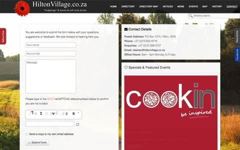 Screenshot of Contact Page hiltonvillage.co.za - Contact Us | HiltonVillage.co.za - captured Oct. 1, 2015
