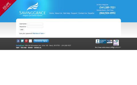 Screenshot of Login Page saving-grace.org - Saving Grace - Imagine Life without Violence - captured Nov. 19, 2016