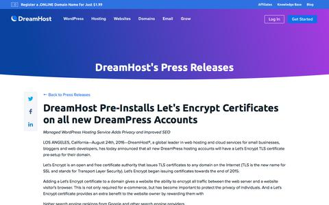 Screenshot of Press Page dreamhost.com - DreamHost Pre-Installs Let's Encrypt Certificates on all new DreamPress Accounts  – DreamHost - captured Feb. 21, 2020