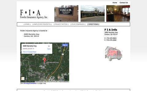 Screenshot of Contact Page Maps & Directions Page fowlerins.com -    Directions    « Fowler Insurance Agency, Inc. - captured Oct. 23, 2014