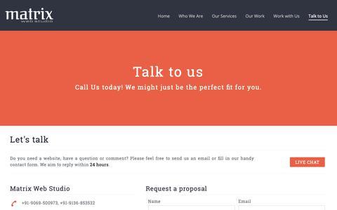 Screenshot of Contact Page matrixwebstudio.com - Website Designing Company in Delhi, Web Design Company, Web Development Company Delhi India - captured Nov. 5, 2018