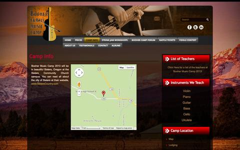 Screenshot of Maps & Directions Page boohercamp.com - Camp Info - :: Booher Music Camp, Oregon :: ::: Booher Music Camp, Oregon :: - captured Oct. 5, 2014
