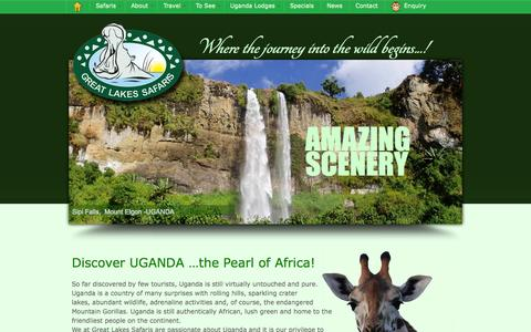 Screenshot of Home Page safari-uganda.com - African Safaris, Uganda Lodges, Gorilla Trekking | Great Lakes Safaris - captured Sept. 24, 2014