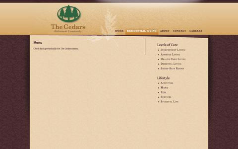 Screenshot of Menu Page thecedars.org - The Cedars - Menu - captured Oct. 29, 2014