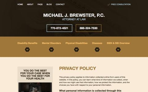 Screenshot of Privacy Page ssdiatlanta.com - Privacy Policy | Michael J. Brewster, P.C., Attorney at Law | Marietta, Georgia - captured Oct. 27, 2014