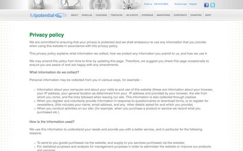 Screenshot of Privacy Page fullpotential.co.uk - Full Potential / Privacy policy - captured Oct. 6, 2014