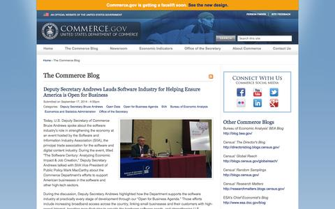 Screenshot of Blog commerce.gov - The Commerce Blog | Department of Commerce - captured Sept. 18, 2014