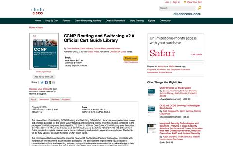 Screenshot of Testimonials Page ciscopress.com - CCNP Routing and Switching v2.0 Official Cert Guide Library - captured March 29, 2019