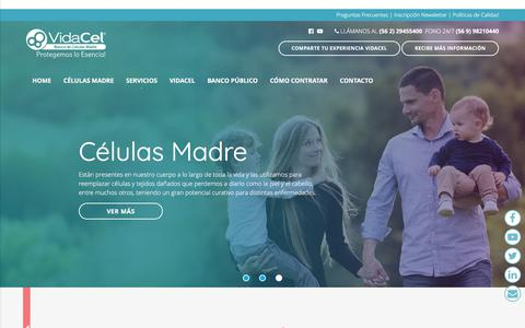 Screenshot of Home Page vidacel.cl - Vidacel - Banco de Células Madre, Protegemos lo Esencial. Vidacel - captured June 12, 2017