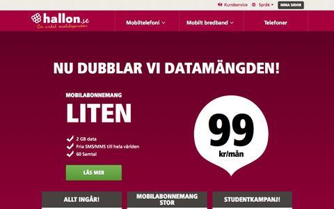 Screenshot of Home Page hallon.se - Mobilabonnemang & Kontantkort från din nya mobiloperatör - hallon - captured Sept. 12, 2015