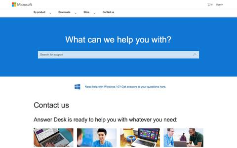 Screenshot of Contact Page microsoft.com - Contact Us - captured April 2, 2016