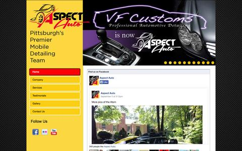 Screenshot of Home Page aspectauto.com - Aspect Auto - captured Oct. 4, 2014
