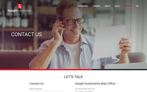 Screenshot of Contact Page insightinvestments.com - Contact – Insight Investments - captured Oct. 15, 2017