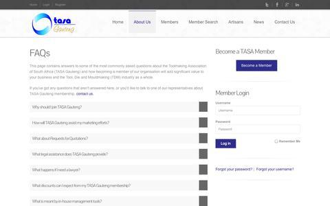Screenshot of FAQ Page tasagauteng.co.za - Toolmaking Association of South Africa (TASA)   Membership FAQs - captured Nov. 3, 2014