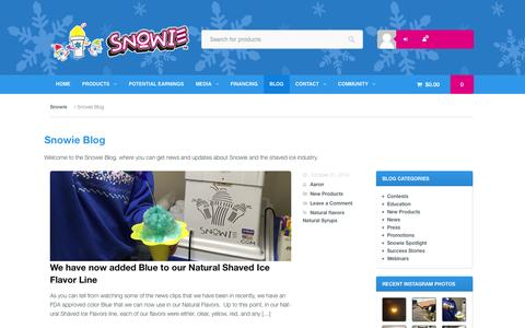 Screenshot of Blog snowie.com - Snowie Shaved Ice Blog | News and Updates from Snowie.com - captured Oct. 26, 2014