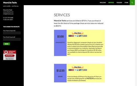 Screenshot of Services Page mltechs.com - Services - MoonLite Techs - captured Oct. 26, 2014