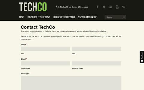 Screenshot of Contact Page tech.co - Contact TechCo - Tech.Co - captured May 21, 2019