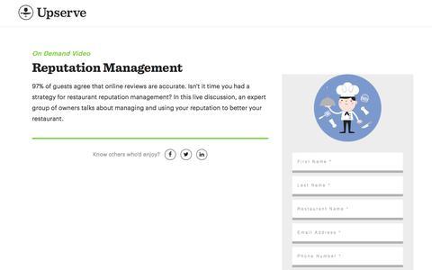Screenshot of Landing Page upserve.com - Restaurant Reputation Management Tips | Upserve - captured Sept. 22, 2017