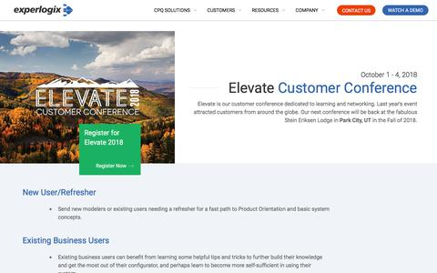 Elevate Customer Conference | Experlogix CPQ