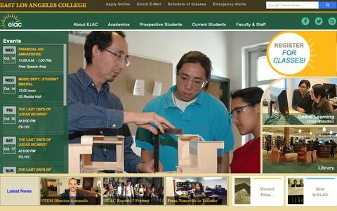 Screenshot of Home Page elac.edu - Welcome to East Los Angeles College - captured Oct. 7, 2015