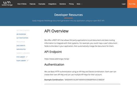 Screenshot of Developers Page webmerge.me - Developers - API Overview | WebMerge - captured Feb. 19, 2016