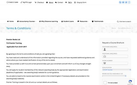Screenshot of Terms Page premiertraining.co.uk - Terms & Conditions - Premier Training - captured May 20, 2017