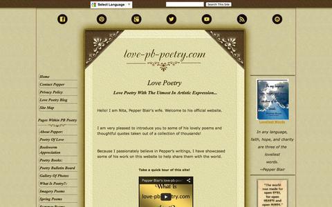 Screenshot of Home Page love-pb-poetry.com - Love Poetry - captured Sept. 23, 2014
