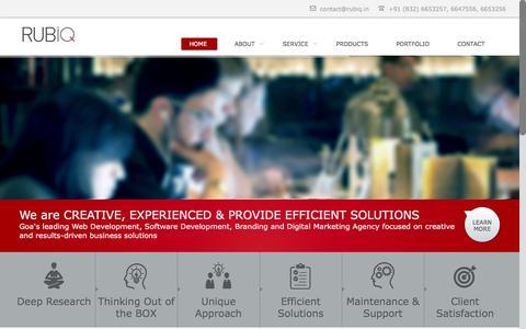 Screenshot of Home Page rubiq.in - Rubiq Solutions | Web Development Goa | Software Development Company |Mobile App Development | Branding | Advertising | Domain Registration | Hosting | IT Goa| Information Technology Goa - captured Jan. 26, 2015