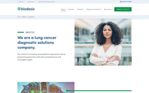 Screenshot of About Page biodesix.com - About Us - Biodesix - captured Sept. 22, 2019