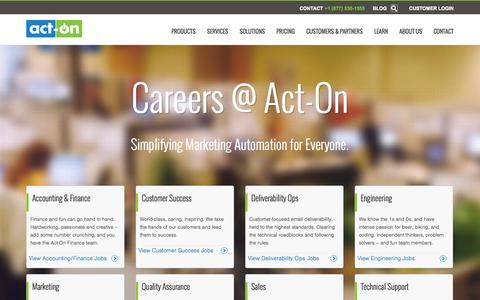 Screenshot of Jobs Page act-on.com - Careers - Act-On Software - captured Oct. 28, 2014