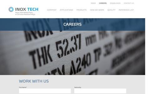 Screenshot of Jobs Page inoxtech.com - careers - Inox Tech - captured Nov. 26, 2016