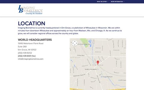 Screenshot of Contact Page Locations Page imagingbiometrics.com - Locations :: Imaging Biometrics - captured Oct. 23, 2014