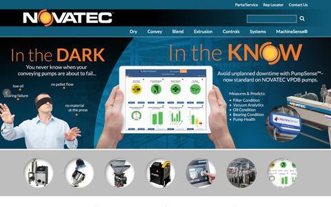Screenshot of Home Page novatec.com - NOVATEC Plastics Auxiliaries Equipment - captured Nov. 9, 2018