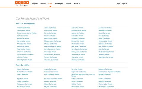 Screenshot of Site Map Page kayak.com - Car Rentals Around the World - Search for Cars on KAYAK - captured Sept. 7, 2019