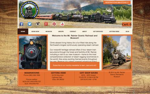 Screenshot of Contact Page mrsr.com - Mt. Rainier Scenic Railroad and Museum Scenic Train Rides - captured Oct. 26, 2014