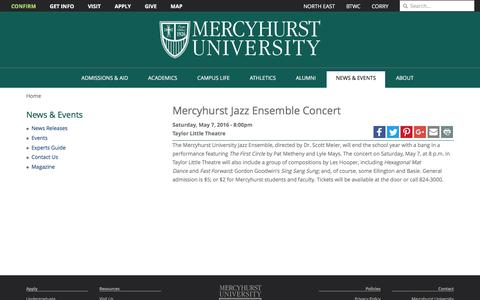 Screenshot of mercyhurst.edu - Mercyhurst Jazz Ensemble Concert | Mercyhurst University - captured May 2, 2016