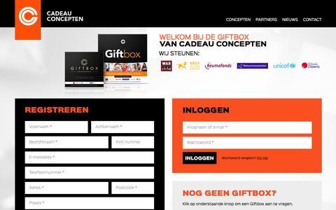 Screenshot of Login Page cadeauconcepten.nl - Cadeau Concepten Giftbox - captured Nov. 10, 2016