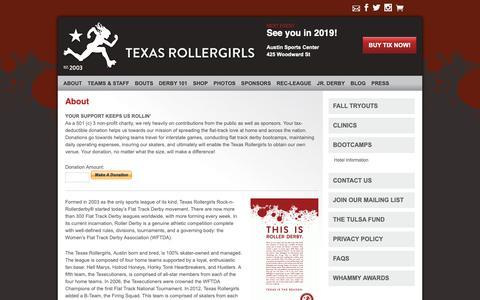 Screenshot of About Page texasrollergirls.org - About | Austin Texas Roller Derby | Texas Rollergirls - captured Oct. 4, 2018